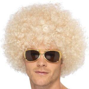 70s 1970s 80s Unisex Funky Afro Fancy Dress Wig Blonde by Smiffys New