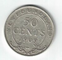 NEWFOUNDLAND 1909 50 CENTS KING EDWARD VII CANADIAN STERLING SILVER COIN