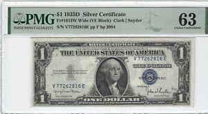 Fr.1613W 1935D $1 Silver Certificate, Clark/Snyder, WIDE,VE Block, PMG 63EPQ