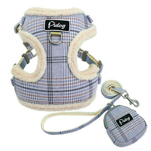 Soft Pet Dog Harness and Lead Cute Plain Warm Vest No Pull Harness & Treat Bag