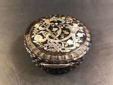 Antique Tortoise Snuff Box/ Silver & Mother Of Pearl Inlaid/ England 1830