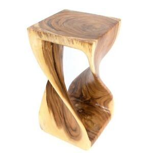 """Twisted Table/Hand Carved/Solid Wood/Lamp Table/Plant Stand/Natural 20"""""""