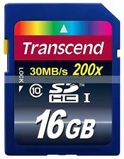 Transcend SDHC 16GB 16G 30MB/SEC Class 10 C10 UHS1 200X Flash Memory Card New