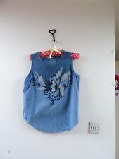 VINTAGE  gypsy/boho/ 80s blue applique textured cotton vest  top size M