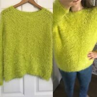 Ladies RIVER ISLAND Bright Lime Green Fluffy Autumn Winter Jumper Size 10