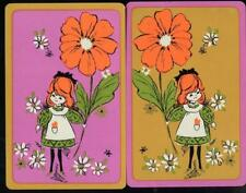 LITTLE GIRL WITH BIG FLOWER SWAP CARD PAIR (BRAND NEW)