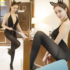 Women Sexy Lingerie Zipper Clear Bodystocking Dress Clubwear Underwear Babydoll