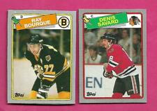 RARE 1988-89 TOPPS RAY BOURQUE + DENIS SAVARD  BOX BOTTOM CARD (INV# D2222)