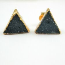Druzy Studs,Gold Plated Silver Triangle Druzy Blue Agate 10mm Earring-1 Pair