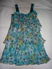 Hobbs turquoise layered, strappy, sleeveless, flowery silk dress. Size 14