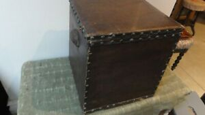 Vintage fireside wooden hinged box/ seat with leatherette studded lid