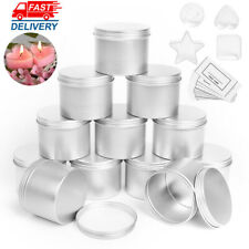 120ml Round  Silver Candle Tin 12pcs Seamless Candle Making Container Jars+4 cup