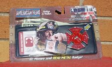 AMERICAN HERO FIRE FIGHTER WALLET I.D. and REAL METAL TOY BADGE NEW