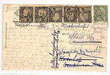 BG79 1908 TUNISIA MULTIPLE FRANKING *Gabes* Postcard Carthage Ruins {samwells}