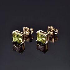 18K Yellow Gold Peridot  Green Crystal Stud Earrings 329