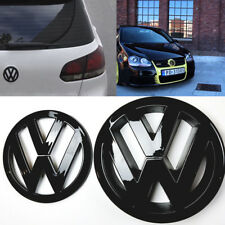 VW Golf Mk5 Anteriore Posteriore Set Coppia Nero Lucido BADGE LOGO EMBLEMA Gloss POSTERIORE BOOT