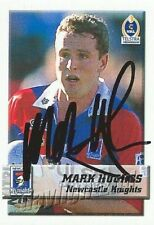✺Signed✺ 2002 NEWCASTLE KNIGHTS NRL Card MARK HUGHES Daily Telegraph