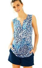 LILLY PULITZER LADIE'S SLEEVELESS STACEY TOP INDIGO HOME SLICE RRP $98