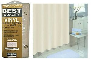 """Excell 1ME-49O-899-280 70"""" X 71"""" Ecru Commercial Quality Vinyl Shower Curtain"""