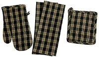 Set of 4, Gingham Check Kitchen Set, 2 Kitchen Towels, 1 Oven Mitt, 1 Pot Holder