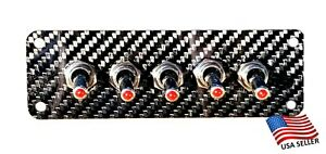 Carbon Fiber 5 Toggle Switch Panel - Red LED Switches