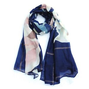 Shimmering Print Blue Pink Womens Fashion Scarf