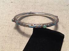 Chinese Antique Sterling Silver & Enamel Bird Green Jade Bangle Bracelet