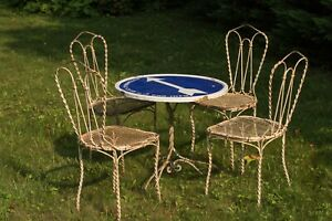 4 French 1890s Twisted Iron Garden Chairs & Antique Porcelain Road Sign Table