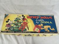 Vintage Mickey Mouse Christmas Lights by NOMA 1930's in Box + Extra Bell