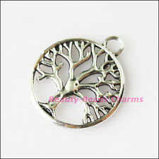 6Pcs Antiqued Silver Tone Round Circle Tree Charms Pendants 20x23.5mm