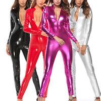 Jumpsuit Romper Bodysuit Women's Ladies Patent Leather Wet Look Costume Leisure