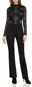 BCBGMaxAzria Womens Elshane Jumpsuit Lace Trim Mock Neck black  sz XXS