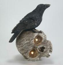 """Crow Standing on Skull with LED Lighted Eyes Halloween Figurine 8""""T"""