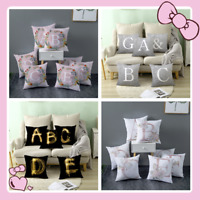 UK  4 COLOURS LETTER POLYESTER CUSHION COVER PILLOW CASE WAIST  HOME SOFA DECOR