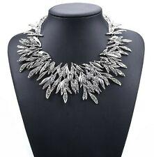 Statement Halskette Collier Choker Kette Blätter Glamour Design Silber plattiert