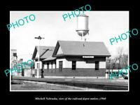 OLD LARGE HISTORIC PHOTO OF MITCHELL NEBRASKA THE RAILROAD DEPOT STATION c1960