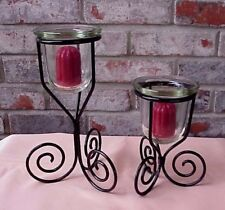 Vintage Wrought Iron Candle Holders  Glass Cups Votive Candles Pair (2) Nice