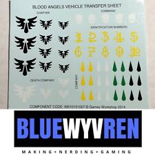 Blood Anels Vehicle Transfer Sheet, Warhammer 40k