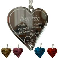 Personalised Bridesmaid Gifts Thank You Maid of Honour Favours Heart Keepsake