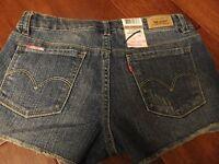 $36 Girls 12 Levi's Shorts Adjustable Waistband Denim Blue Jeans Cutoff Cut Off