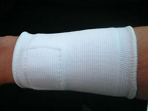 2  MAGNETIC  WRIST  SUPPORTS  -  WHITE  STRETCH  COTTON