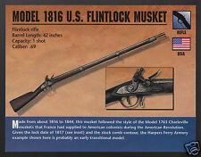 MODEL 1816 U.S. FLINTLOCK MUSKET .69 Rifle Gun Atlas Classic Firearms PHOTO CARD