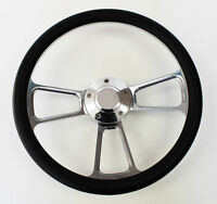 "78-91 Bronco F100 F150 F250 F350 Steering Wheel 14"" Black & Billet Shallow Dish"