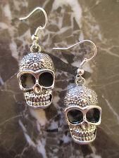 Large Sugar Skulls Tibetan Silver Artisan Handcrafted Earrings-Emo Gothic Scene