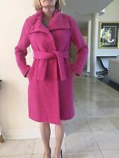 Charles Chang Lima Wool Mohair Pink Fuchsia Long Belted Coat Size 4