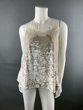 Preowned Greylin Woman Top Sleevless Flair SZ S Velvet Lace Beige