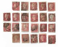 UK Queen Victoria Penny Red stamps x 22  (All damaged) Batch 5