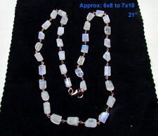 Natural Rainbow Moonstone, Sterling Silver Gemstone Beads Chain Necklace- 21""