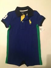 NWT Ralph Lauren Polo Baby Boy Blue Big Pony Shortall Romper 12 Mos Twins