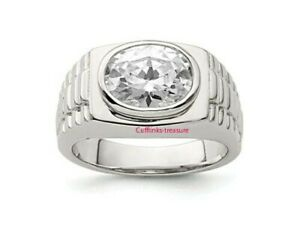 Natural White topaz  Gemstone with 925 Sterling Silver Ring For Men's
